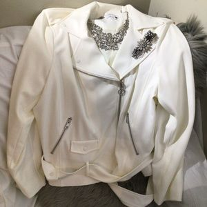 Nine West Cream Zipper Jacket